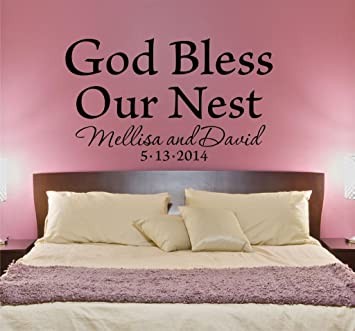 Amazon Com God Bless Our Nest Bedroom Wall Decal Personalized