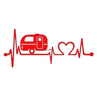Bluegrass Decals F1026 Camper Travel Trailer Heartbeat Lifeline Decal Sticker (Red): Automotive