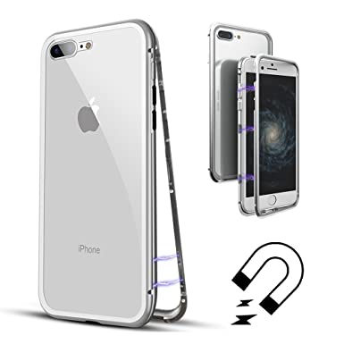 premium selection 3244d 3dfe1 QLTYPRI iPhone 7 iPhone 8 Case, Magnetic Adsorption Metal Case Aluminum  Bumper 9H Tempered Glass Back Cover [NO Screen Protector] Ultra Slim Case  for ...