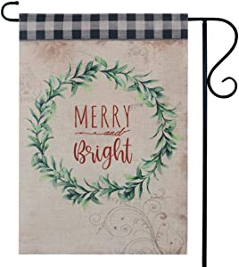 LINKWELL Farmhouse Christmas Wreath Merry Bright Garden Flag for Outside Double Sided 12.5 x 18 Inch Small Lawn Flag Yard Decor Outdoor Xmas Pinecone Home Decorations GF46