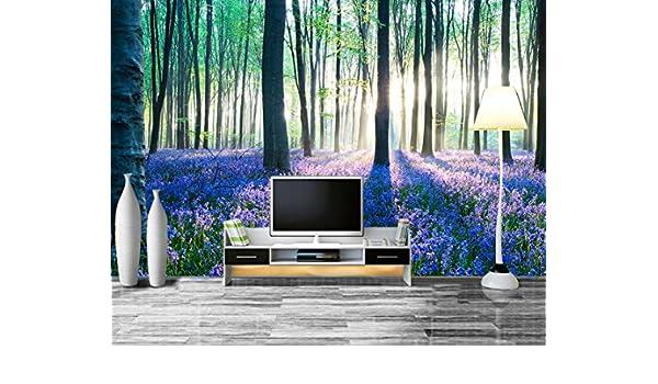 AQSGH 3D maderas verdes flores de color púrpura flores mar paisaje ...