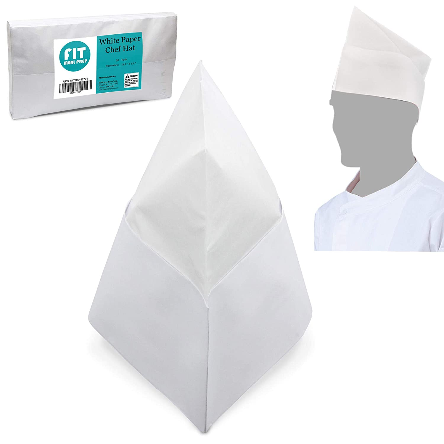 [50 Pack] White Paper Chef Hat - Disposable Soda Jerk Cap for Food Server, Retro Diner Theme, Baking and Party Favors, For Kids and Adults