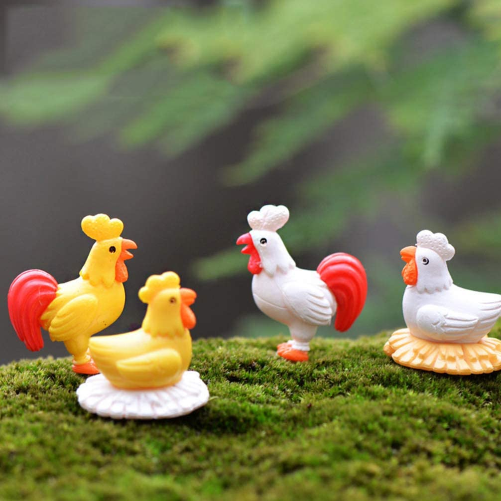Amosfun 12 Piezas de Gallinas en Miniatura Figuras de Gallo Toppers de Pastel Decoraciones de Jard/ín de Hadas Adornos Micro Paisaje Bonsai Accesorios de Casa de Mu/ñecas