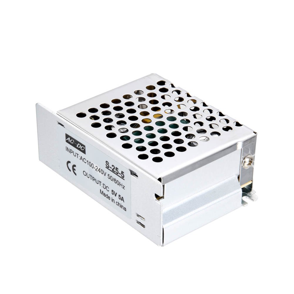 ROKOO Switch Power Supply Adapter Metal Case AC to DC 5V 5A 25W Voltage Transformer for LED Strip Light