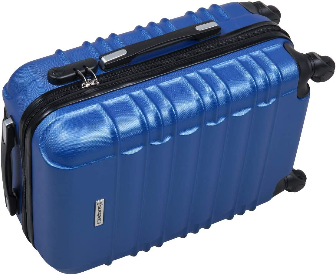 Modern 4-caster Trolley Travel Case Carry-On Bag Luggage Expandable Suitcase, Royal Blue 21 H
