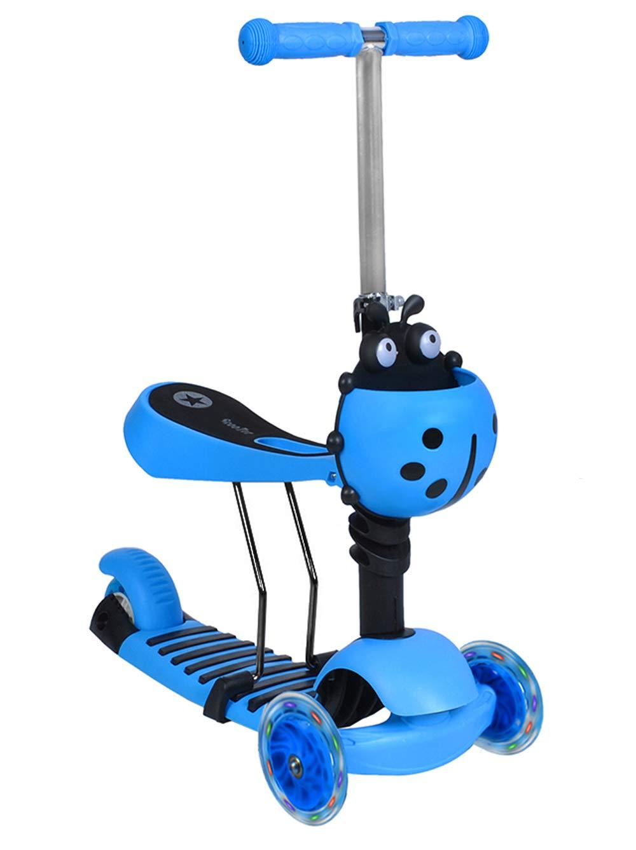 Iso Trade Kinderroller Dreirad Tretroller Cityroller + Sitz Kinder LED Räder Scooter #3479, Farbe:Blau