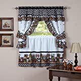 3 Piece 36 Inch Multi Color Homemade Country Jam & Jellies Print Cottage Curtain Set, Red Plaid Pattern Fruit Jams Printed Cabin Lodge Southwest Lumberjack Country Rustic Ruffled Vibrant, Polyester