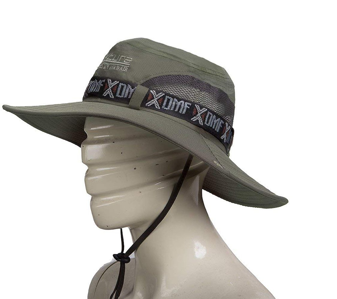 9b38fcdf Amazon.com: Outdoor Hunting Hat Wide Brim Summer Hat Adjustable Packable Breathable  Polyester With Mesh.UPF 50 Protection for Men & Women (Army Green): ...