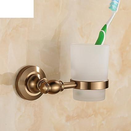 Cepillo de dientes antiguo europeo vaso porta set/Doble taza/ cepillo taza de aluminio