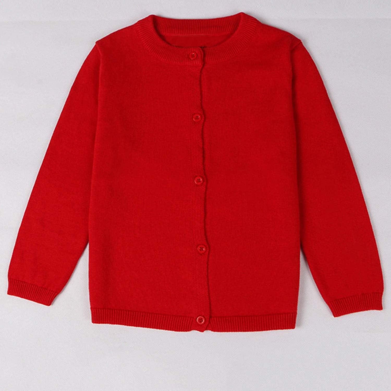 Kids Baby Knitted Solid Cardigan Uniform School-wear Button Down Sweaters Jumper Long Sleeve Tops