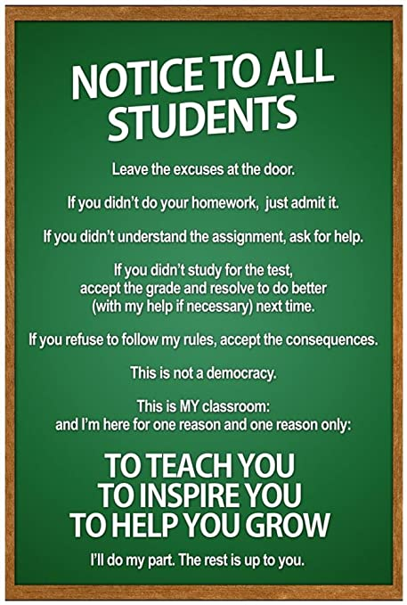amazon com notice to all students classroom rules poster 13 x 19in