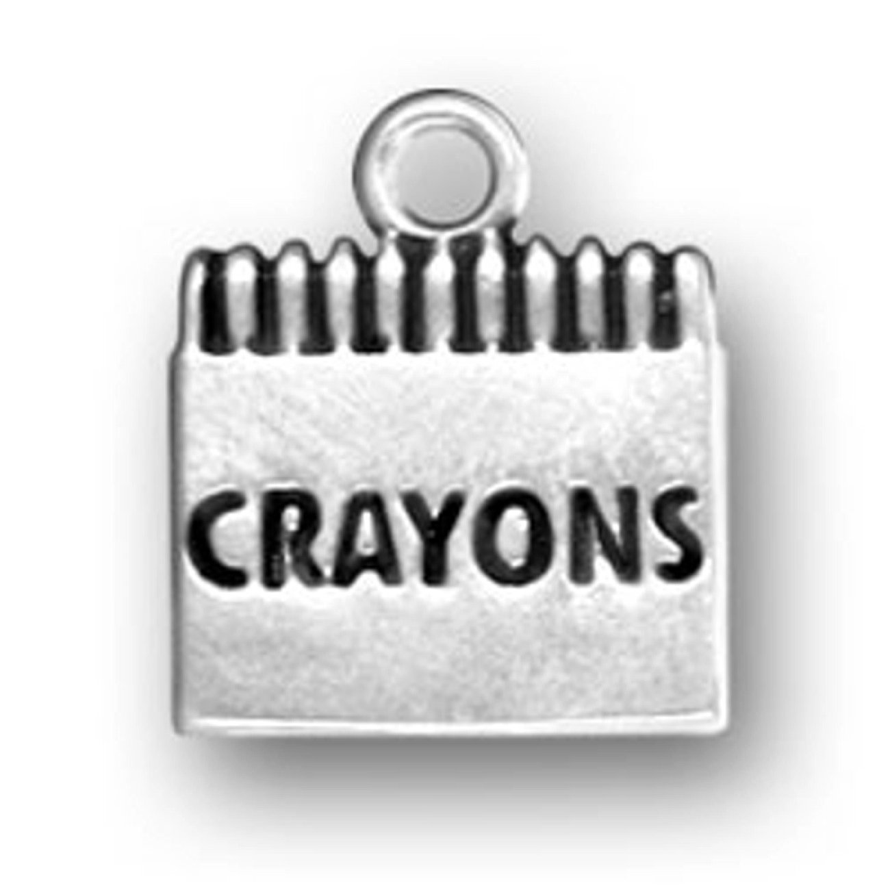 Sterling Silver Girls .8mm Box Chain Large Box Of Childrens Crayons Pendant Necklace