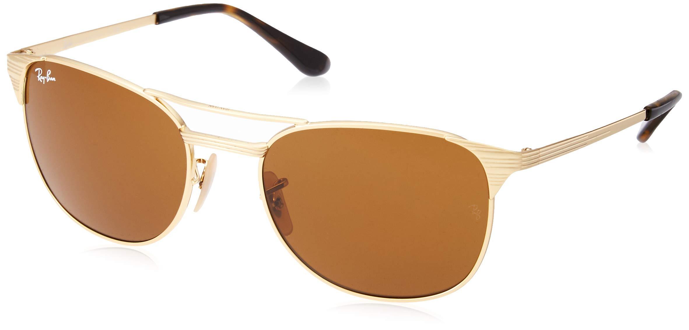 Ray-Ban Men's Metal Man Square Sunglasses, Gold/Brown, 55 mm