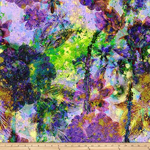 Hoffman Digital Through The Lens Floral Geo Purple Haze Fabric by The Yard
