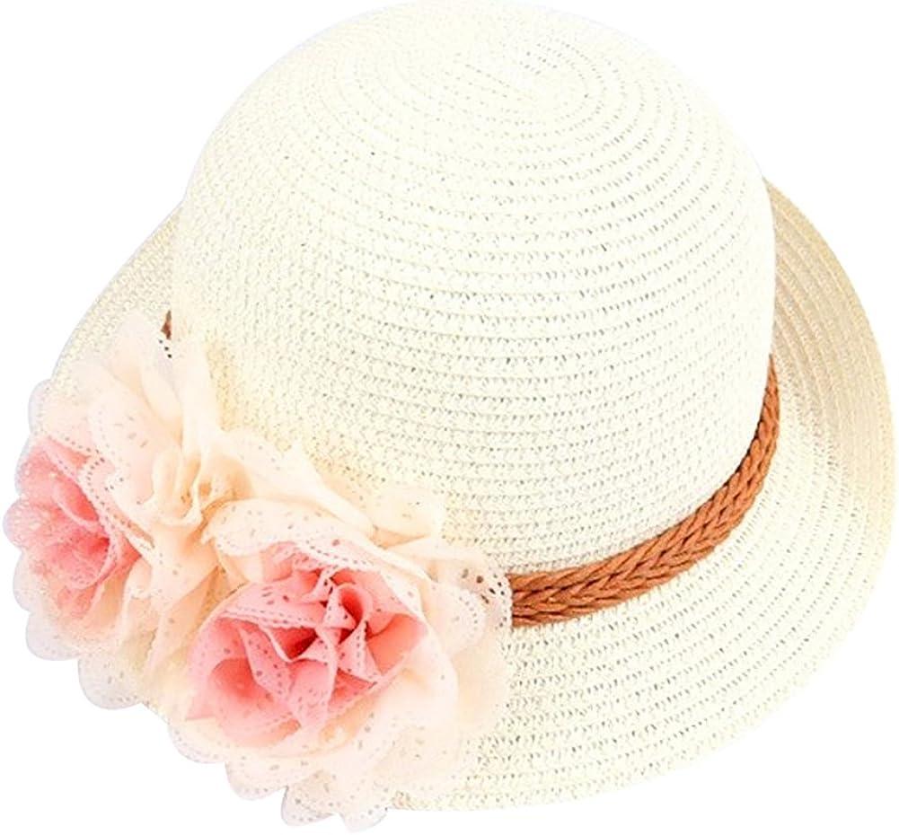 ink2055 Fashion Hats Spring Summer Hats Flower Wide Brim Cocktail Party Travel Kid Girl Hat Cap
