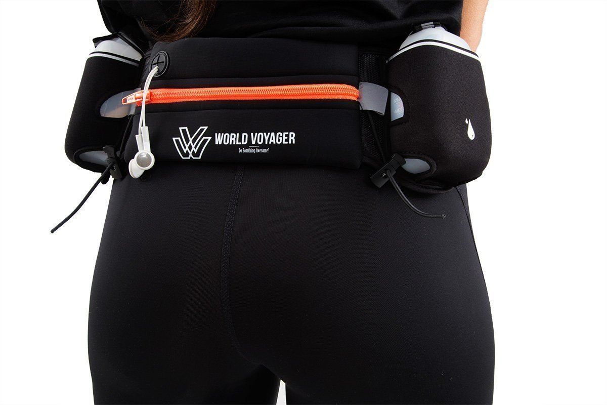 World Voyager No Bounce Runners Hydration Belt with Reflectors, Smartphone Pocket Fits iPhone 6 Plus , BPA Free Water Bottles