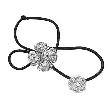 Amazon.com   Rhinestone Flower Double Ball Ponytail Holder 781eecb81de