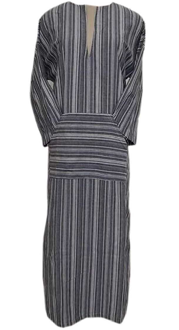 M/&S/&W Womens Long Maxi Long Sleeved Linen Cotton Plus-Size Striped Dress with Pockets