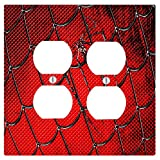 Spider Web Print 2 Duplex Electrical Outlet Wall Plate (4.56 x 4.5in)