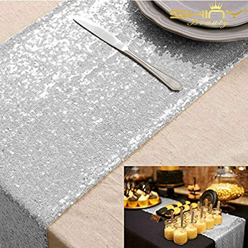 ShinyBeauty Sequin Table Runner, 12 by 72-Inch-Silver,Shimmer Table Runner, Bling Table Runner, Wedding Table Runner, Custom Table Runner ()