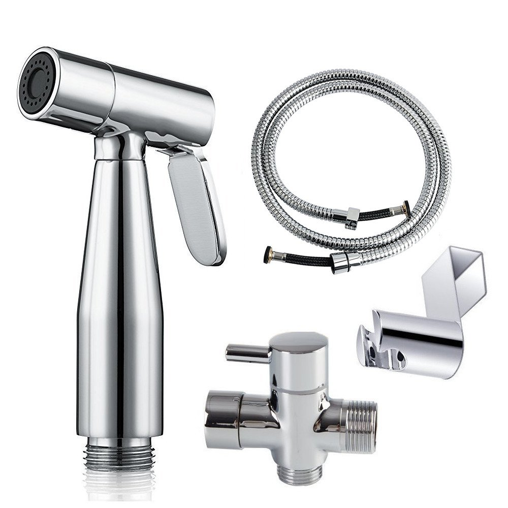 AzureLuxe Cloth Diaper Sprayer - Complete Set Premium Stainless Steel Hand Held Diaper Sprayer Kit for Toilet Attachment with T-Adapter and Explosion Free Hose DS_SS01