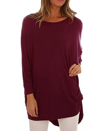 ACHIOOWA Femme Oversize Shirt Tops Manches Longues Col Rond Casual Tunique  Haut Blouse Longue 985449Bordeaux S 4fc51de3ebd0