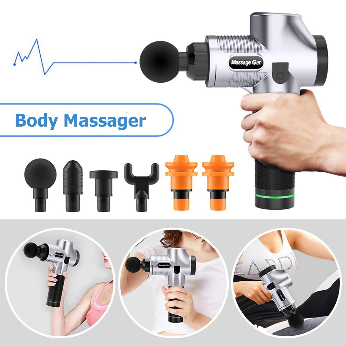 Massage Gun Deep Tissue Percussion Massager for Muscle Tension Relief, Handheld Electric Massager w/ 30 Speeds Rechargeable 2500mAh Battery 6 Heads for Athletes/Physical Therapist/Bodybuilder (Silver)