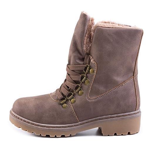 e3ba73892a7d14 Marimo Damen Winter Schnür Boots Schuhe Stiefel mit Kunstfell in Lederoptik  warm gefüttert  Amazon.de  Schuhe   Handtaschen