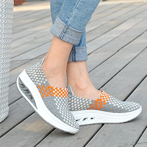 Lace Ihengh up Running Sport Scarpe Outdoor Breathable Zeppa Ginnastica Donna Shoes Estate Da Donne Respirante Casual Moda Pu Sneakers 2019 Scarpa Grigio Women qw6qCZA