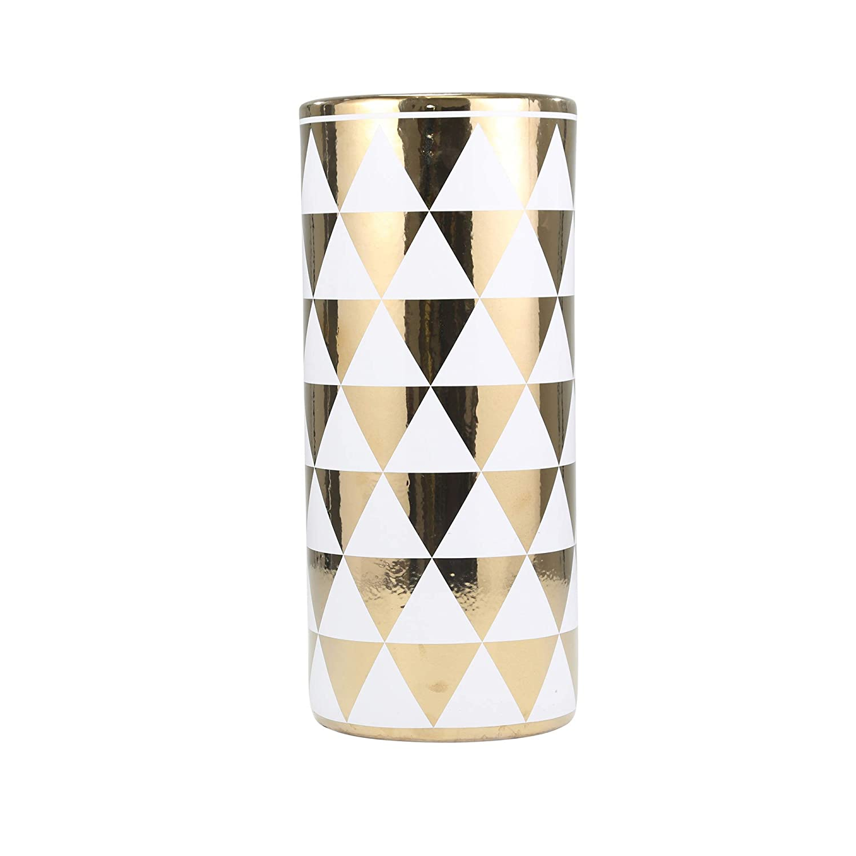 Sagebrook Home 13166-03 Ceramic Umbrella Stand 8 x 8 x 18 White//Gold