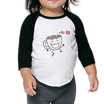 Coffee Shock Mug Cup Unisex 100% Cotton Raglan 3/4 Sleeve Baseball T Shirts Tops