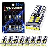 10PCS AutoLite Super Bright 194 T10 2825 Led Bulb, Interior Car Light Bulbs 168 W5W, Xenon White 6000K with CANBUS Error Free, Best for License Plate Light Led Dome Light Map Truck Door Courtesy Light: more info