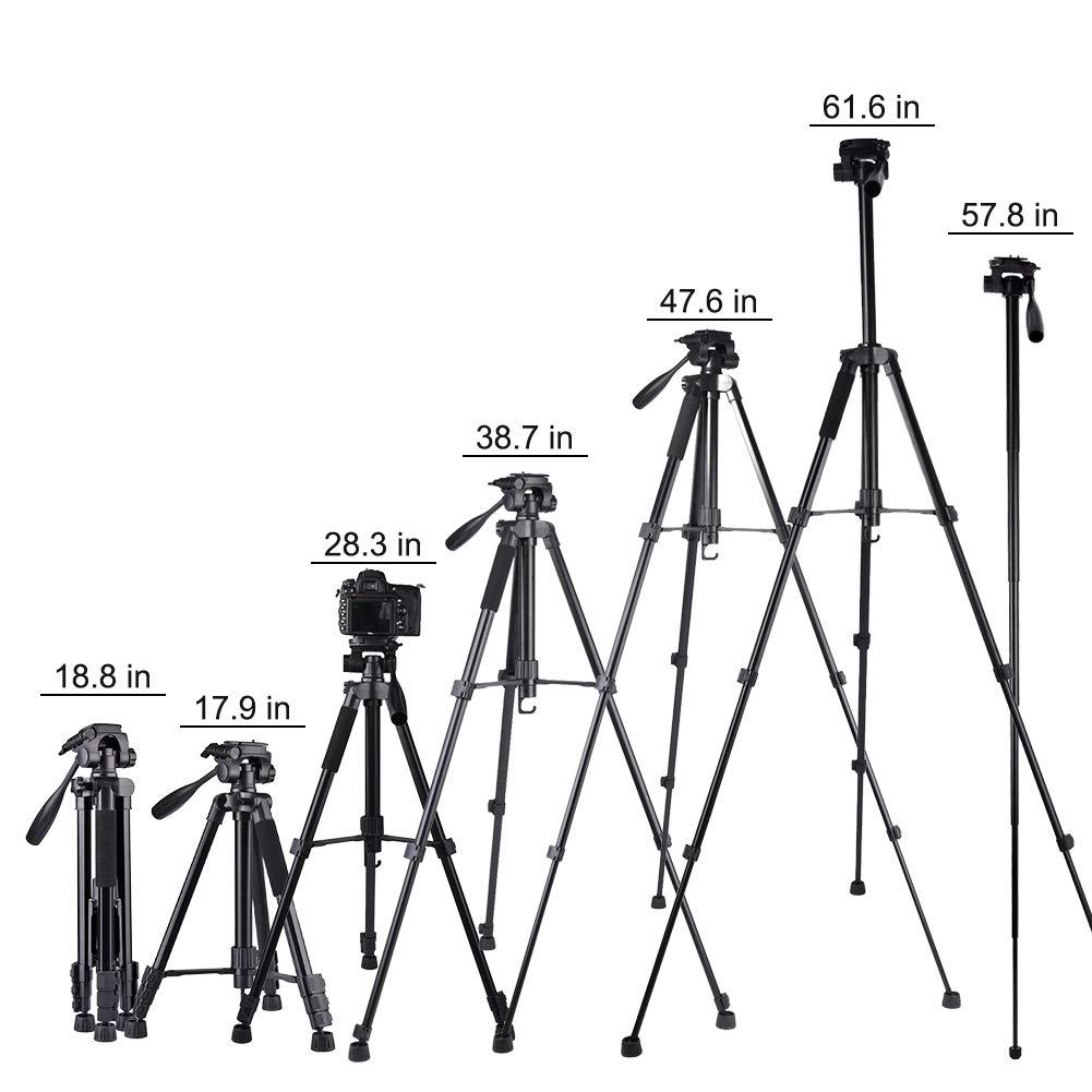 Monopie y Bolsa de Transporte LigeroTr/ípode C/ámara para Canon Nikon Sony y Smartphone Tr/ípode de C/ámara WZTO 163cm Tr/ípode de Aluminio Tr/ípode de C/ámara Portatil con R/ótula de Bola 360 Grados