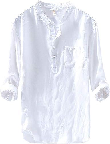 zencardery Camisas Hombre Verano Camisa Casual Camisetas De Manga Larga Botón Algodón Lino Color Sólido Blusa De Playa Suelta Camisa De Hombre Chemise Homme: Amazon.es: Ropa y accesorios