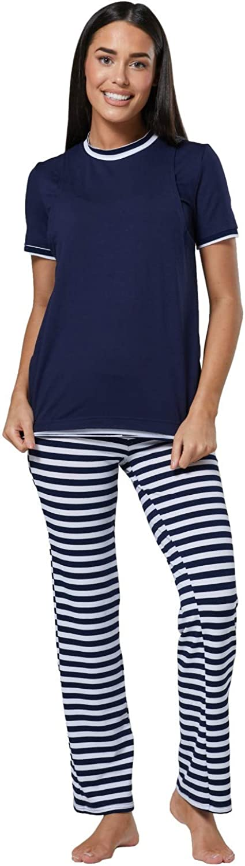 HAPPY MAMA Womens Maternity Nursing Pyjama Printed Nightwear Set-High Neck 690p