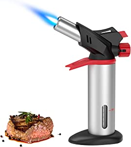 (2020 New) Criacr Butane Torch, Culinary Blow Torch Kit, Refillable Kitchen Food Torch with Safety Lock and Adjustable Flame for Baking, DIY, Brulee, BBQ (Butane Gas Not Included)