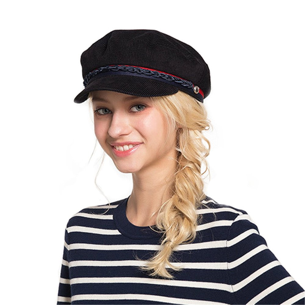 Army Cap Beret Hat Women Men Autumn Winter Caps With Visor Contrast Hatband Military Cap DH1527A