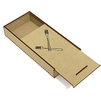 Cubertería tenedores de madera lápiz caso/Slide caja superior (pc00011001)