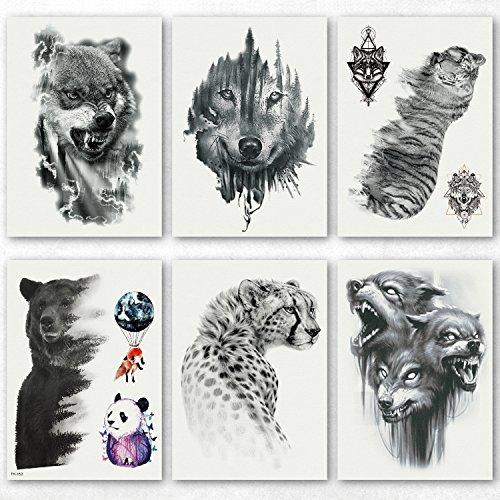(Kotbs 6 Sheets Large Temporary Tattoo Black Strong Wolf Tiger Tattoo Sticker for Men Women Guys Waterproof Body Art Makeup Fake Tattoos)