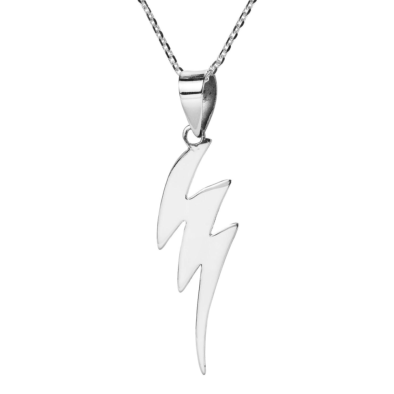 AeraVida Exciting Zig-Zag Lightning Strike .925 Sterling Silver Pendant Necklace