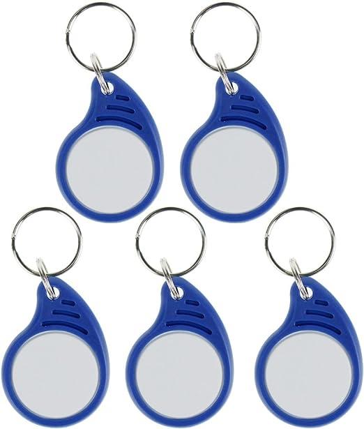 20pcs HFeng 13.56MHz RFID Llavero Tag Proximity Key Fob MF 1K Keyfob Tarjetas de acceso IC Token NFC azul y blanco 12 #