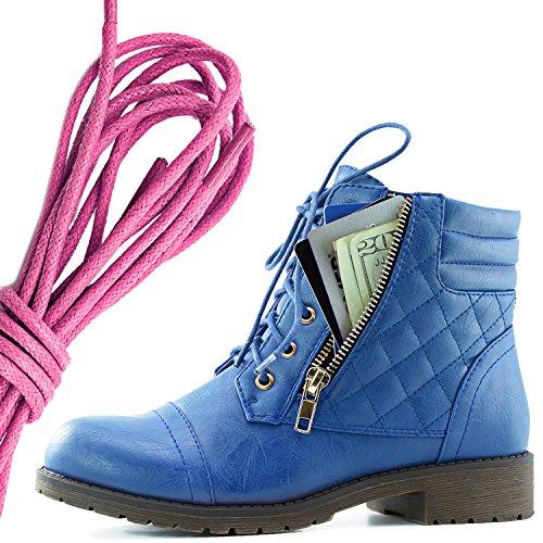 Dailyshoes Donna Militare Allacciatura Fibbia Stivali Da Combattimento Alla Caviglia Alta Tasca Esclusiva Per Carte Di Credito, Rosa Blu Pu