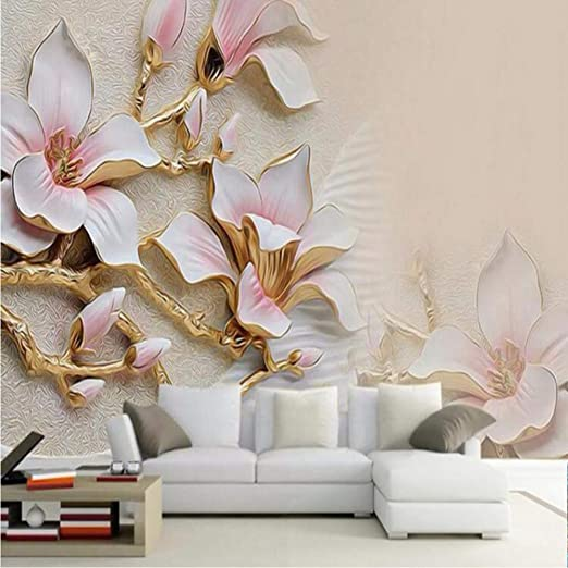 Xbwy 3d Wallpaper Hd Embossed Magnolia Flowers Photo Mural Living Room Home Decor Wallpaper Modern Abstract Floral 3d 350x250cm Amazon Ca Home Kitchen