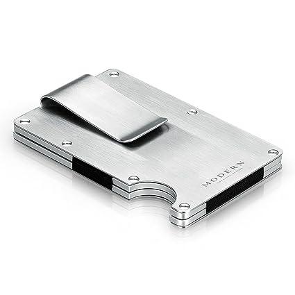 Money Clip-Mens negro Money Clip Wallet Slim Leath Cartera de aluminio Clip de acero