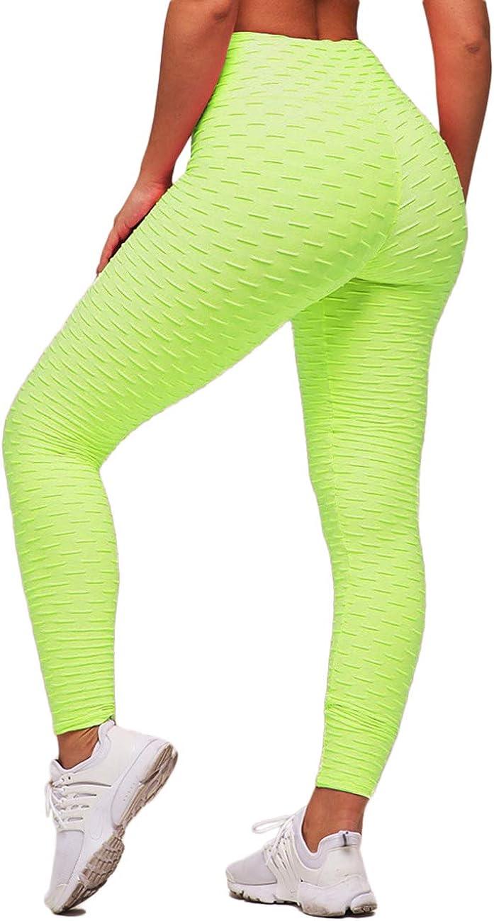 STARBILD Women Honeycomb Textured Anti-Cellulite Compression Leggings Ruched Butt Lift Leggings High Waist Yoga Pants Fashion Running Tights