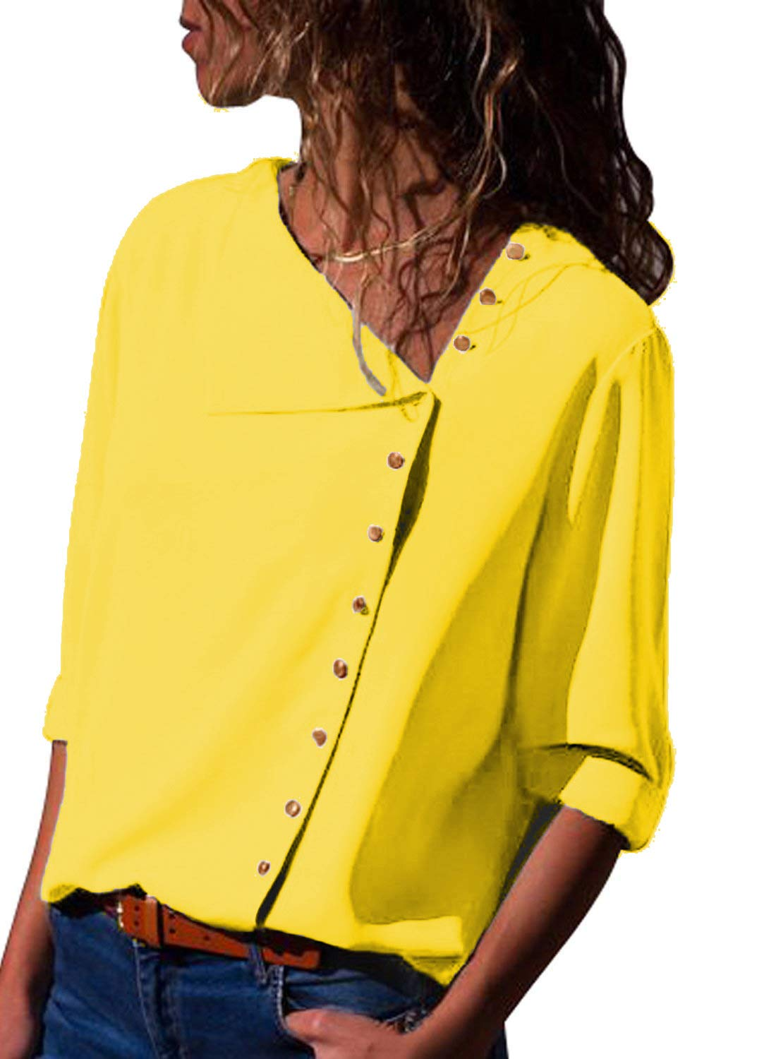 BETTE BOUTIK Womens Button-up Blouses Fit Comfy Cusual Shirts Tunics 3/4 Sleeves Yellow Small