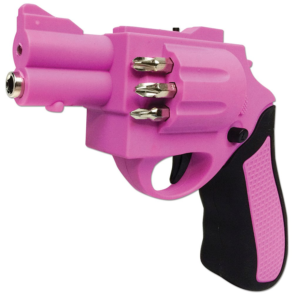 Forum Novelties Revolver Shaped Electric Screwdriver Gun with 6 Drill Bits Pink