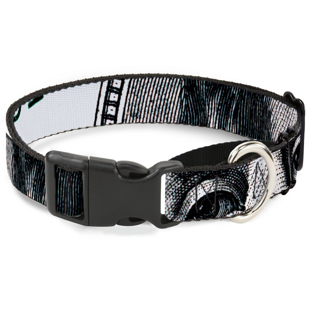 Buckle-Down 100 Dollar Bill Close-Up White Black Martingale Dog Collar, 1  Wide-Fits 15-26  Neck-Large