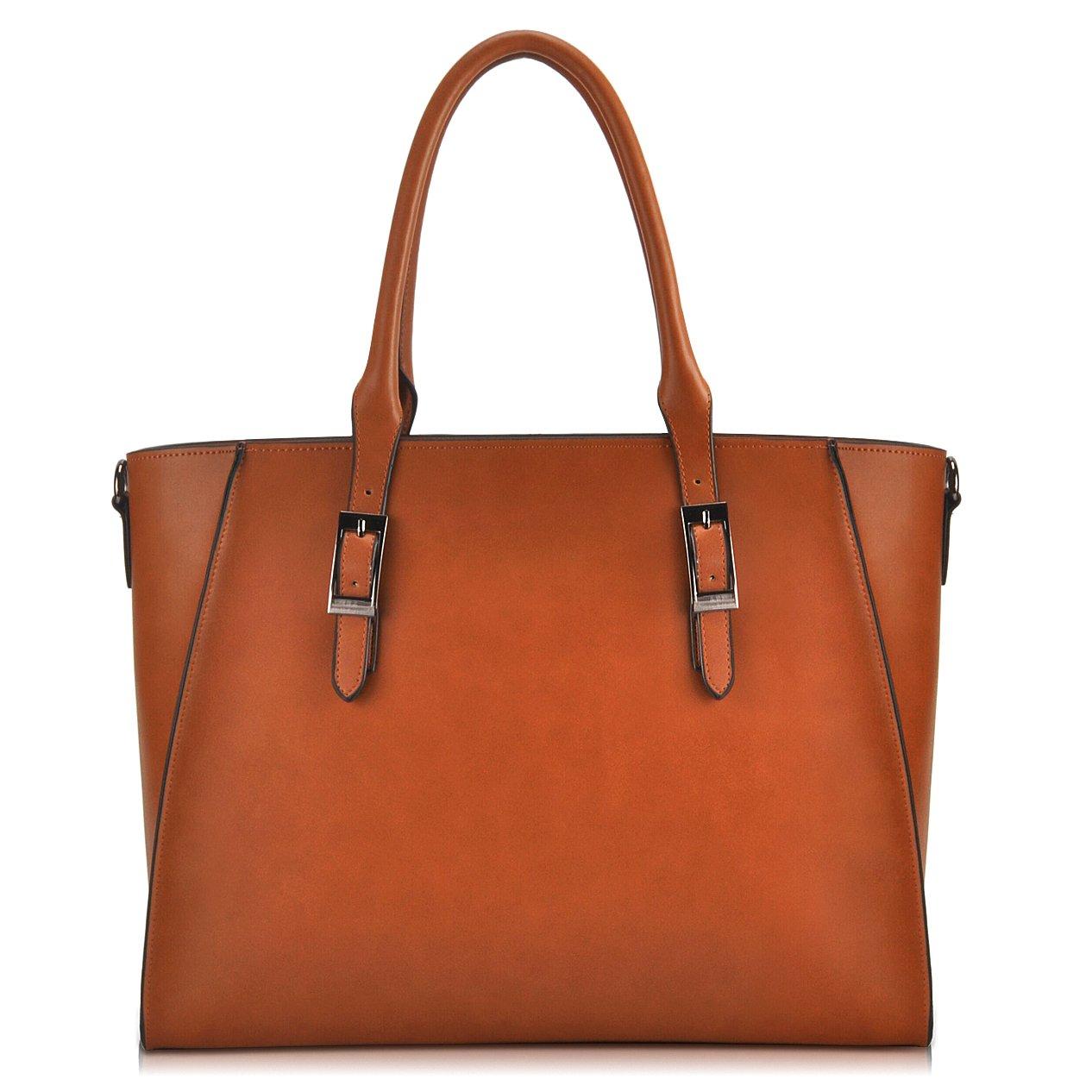 IAITU Laptop Tote Bag,15.6 Inch Crossbody Laptop Bag Casual Work Business Handbag with Smooth Zipper for Women(Brown) by IAITU (Image #2)