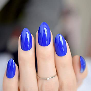 Shiny Sapphire Blue Candy Nail Art Almond Design Pointed Medium